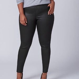 Lane Bryant Black Coated Skinny Jeans